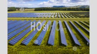 Aerial View Of Errol Solar Farm Near Perth In Scotland, Uk. Operated By Elgin Energy It Is Largest Solar Farm In Scotland Generating 13mw From 55,000 Solar Panels. - Aerial Photography - Aerial Photography