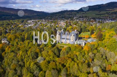 Aerial View During Autumn Of Atholl Palace Museum And Town Of Pitlochry In Perthshire, Scotland, Uk - Aerial Photography