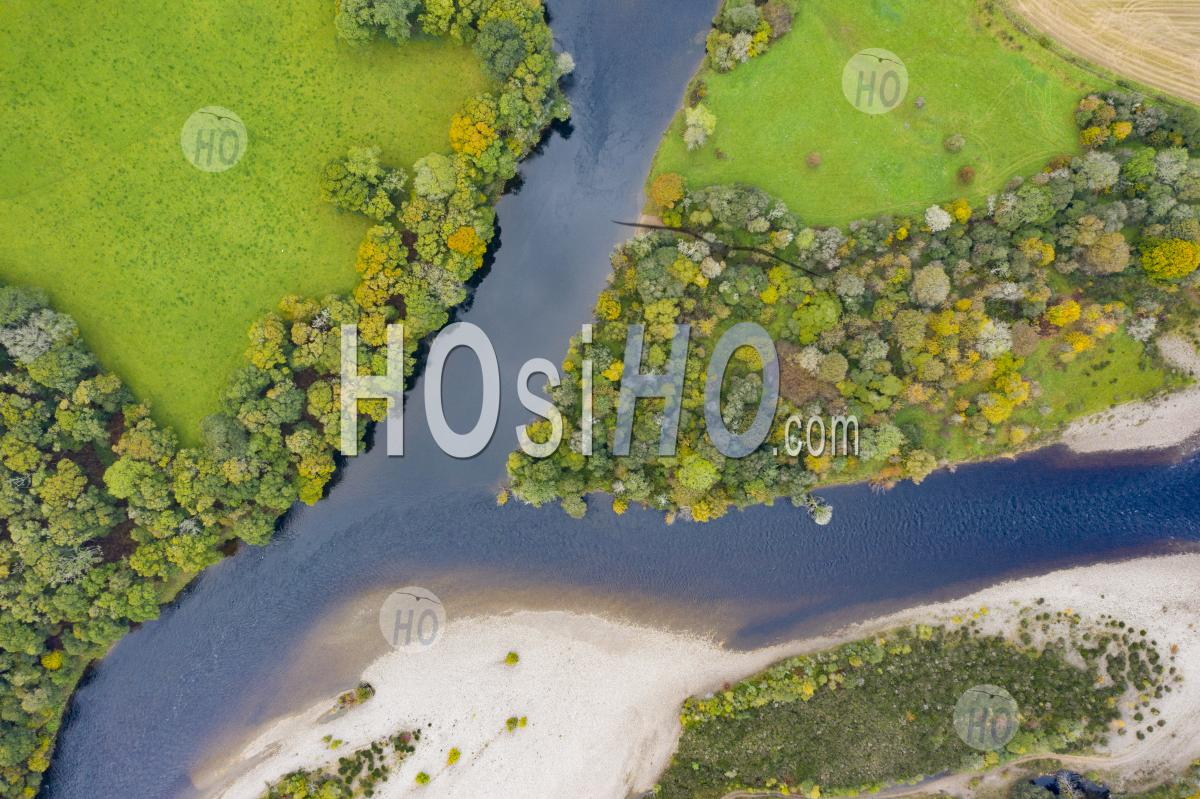 Autumn View Of Confluence Of River Tay And River Tummel At Ballinluig. River Tay And River Tummel Are Two Of Scotland's Foremost Salmon Rivers. Scotland, Uk - Aerial Photography