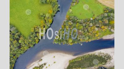 Autumn View Of Confluence Of River Tay And River Tummel At Ballinluig. River Tay And River Tummel Are Two Of Scotland's Foremost Salmon Rivers. Scotland, Uk - Aerial Photography - Aerial Photography