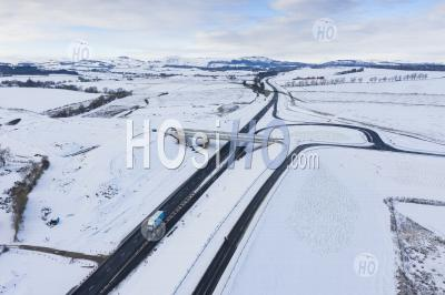 Aerial View Of Construction Site Of A9 Upgrading Project Between Luncarty And Pass Of Birnam, Perthshire, Scotland, Uk - Aerial Photography
