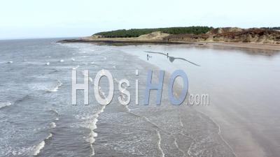 Vidéo Prise Par Drone De Gullane Beach à East Lothian, Ecosse, Royaume-Uni