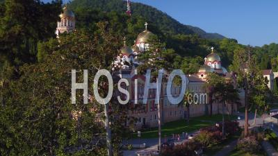New Athos Monastery Aerial View Close Up - Video Drone Footage