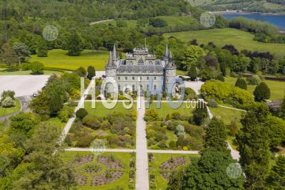 Aerial View Of Inveraray Castle In Argyll And Bute, Scotland, Uk - Aerial Photography