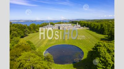 Aerial View Of Hopetoun House, South Queensferry, West Lothian,Scotland, Uk - Aerial Photography