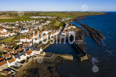 Aerial View Of Village From Drone Of Of Cellardyke Fishing Village In The East Neuk Of Fife, Scotland, Uk