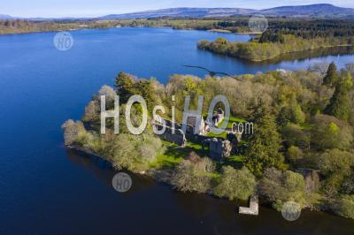 Aerial View Of Inchmahome Priory On Inchmahome Island On The Lake Of Menteith In Stirlingshire, Scotland, Uk - Aerial Photography