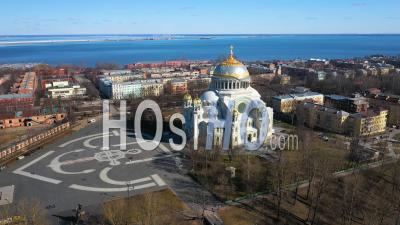 Kronstadt Naval Cathedral Long Shot, Panorama, Aerial View - Video Drone Footage