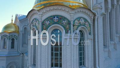 Kronstadt Naval Cathedral View Of Golden Domes And Mosaics, Close Up - Video Drone Footage