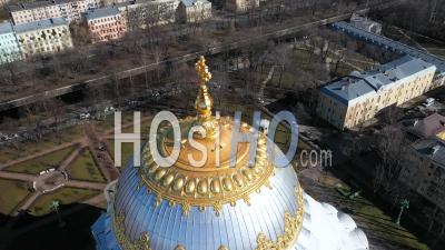 Kronstadt Naval Cathedral View Of Golden Domes, Close Up Shot, Backlight Too Sea - Video Drone Footage