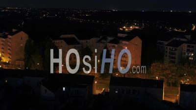 Suburb Corbeil-Essonnes Buildings Night - Video Drone Footage