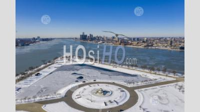 Belle Isle And The Detroit River - Aerial Photography