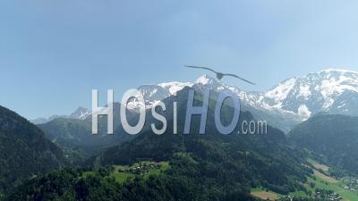 Aiguille De Bionassay And The Dome De Miage En Haute-Savoie - Video Drone Footage