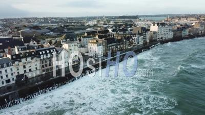 The Phenomenon Of High Tides In Saint-Malo - Video Drone Footage
