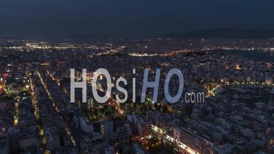 Establishing Aerial View Shot Of Athens, Port Of Piraeus, Greece At Night Evening - Video Drone Footage