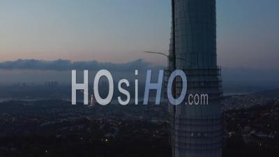 Blinking Flashing Lights On Istanbul Tv Tower With Amazing View Over All Of Istanbul, Aerial Crane Up - Video Drone Footage