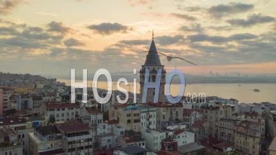 Galata Tower In Sunrise Sunlight, Aerial Hyperlapse Drone Time Lapse Circle Shot