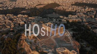 Aerial Perspective Of Acropolis Of Athens In Golden Hour Sunset Light 4k - Video Drone Footage