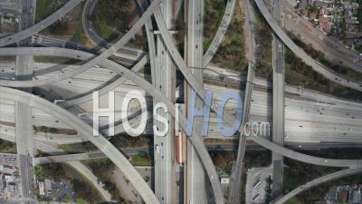 Spectacular Overhead Shot Of Judge Pregerson Highway Showing Multiple Roads, Bridges, Viaducts With Little Car Traffic In Los Angeles, California On Beautiful Sunny Day 4k - Video Drone Footage