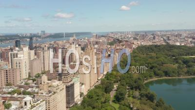 Beautiful New York City Buildings With Central Park At Sunny Summer Day 4k - Video Drone Footage