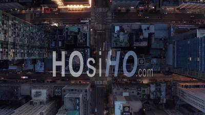 Birds Perspective Of New York City Skyscrapers Street, Road In Manhattan With Busy Car Traffic And City Lights In Beautiful 4k - Video Drone Footage
