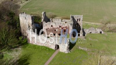 Hailes Castle In Scotland, Uk - Video Drone Footage