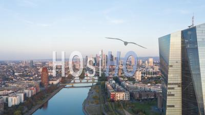 Frankfurt Am Main, Germany Skyline Establisher Sunrise Hyperlapse Moving Time Lapse With European Central Bank Ecb And Main River At Sunrise, Aerial Forward 4k - Video Drone Footage