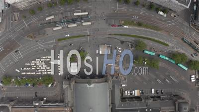 Aerial View Of Frankfurt Am Main, Germany Public Transport On Street With People And Car Traffic - Video Drone Footage