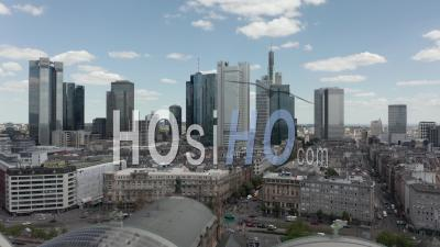 Aerial View Forward Flight Over Frankfurt Am Main, Germany Central Train Station With Skyline View On Beautiful Summer Day With Little Traffic Due To Coronavirus Covid 19 Pandemic - Video Drone Footage