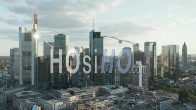 Aerial View Beautiful Frankfurt Am Main, Germany Cityscape In Soft Summer Afternoon Light With Green Trees With Empty Streets Due To Coronavirus Covid 19 Pandemic In June 2020 - Video Drone Footage