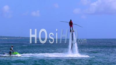 Man Flying With Jet Pack Thruster