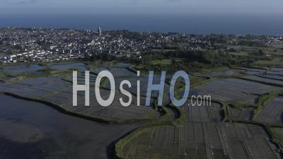 Cote Batz Sur Mer Marais Salants Loire Atlantique France - Video Drone Footage