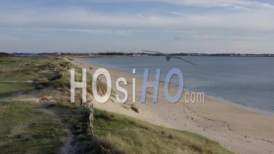 Cote Sauvage Pen Bron La Turballe Dune Sable Loire Atlantique France - Video Drone Footage