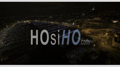 Vieux-Port De Marseille Et Principaux Monuments De Nuit - Vidéo Drone