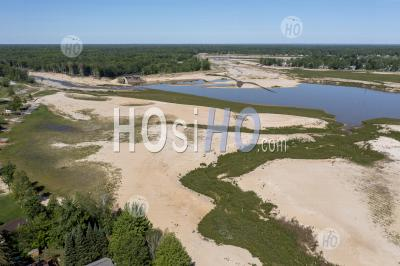 Empty Lakes After Michigan Dams Failed - Aerial Photography