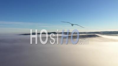 Vue Aérienne De Collines Dans Mystic Foggy, Froid Matin D'hiver Par Drone