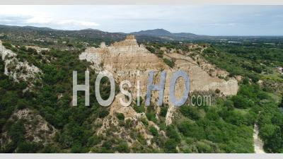 Listed Geological Site Of The Organs Of Ille-Sur-Tete, Fairy Chimneys, Viewed From Drone