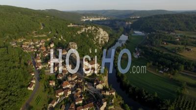 The Hilltop Village Of Saint-Cirq-Lapopie - Video Drone Footage