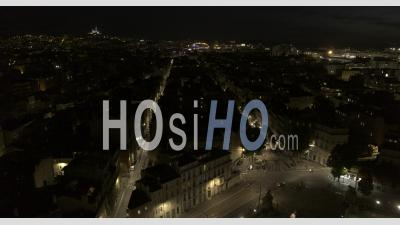 Marseille City At Night From Palais Longchamps In Video 6k - Video Drone Footage