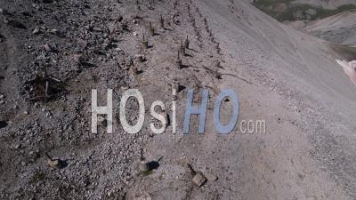 Barbed Wire On The Slopes Of Mont Chaberton, Hautes-Alpes, France, Viewed From Drone