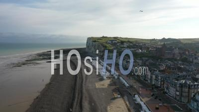 Beach And Cliff - Mers-Les-Bains - Video Drone Footage