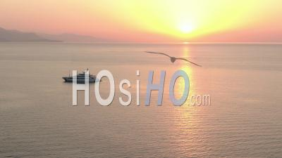 Luxury Yacht In The Sunrise On The Bay Of Antibes, French Riviera, Filmed By Drone, France