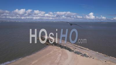 The Pointe De Grave Between The Gironde Estuary And The Atlantic Ocean, France, Viewed From Drone
