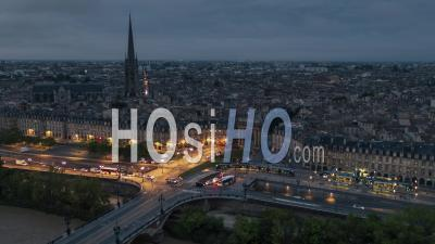 Establishing Aerial View Shot Of Bordeaux Fr, World Capital Of Wine, Nouvelle-Aquitaine, France At Dusk Night Evening - Video Drone Footage