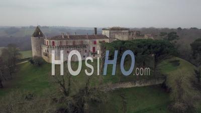 Benauge Castle In Winter, Video Drone Footage