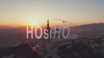 Masgical Sunrise, Basilica Of Notre-Dame-De-La-Garde, Establishing Aerial View Shot Of Marseille Fr, Bouches-Du-Rhone, Provence-Alpes-Cote D'azur, France - Video Drone Footage