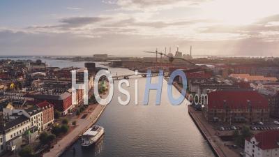 Establishing Aerial View Shot Of Copenhagen, Capital Of The North, Denmark, Sunny - Video Drone Footage