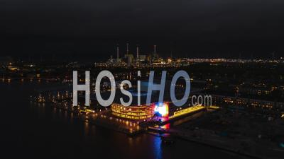 Establishing Aerial View Shot Of Copenhagen, Capital Of The North, Denmark, At Night Evening - Video Drone Footage
