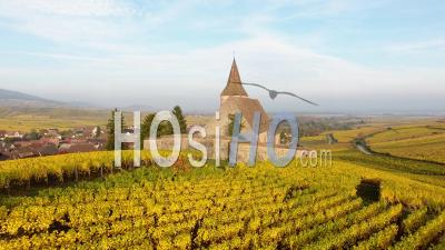 Fortified Church Of Hunawihr, Alsace Seen By Drone