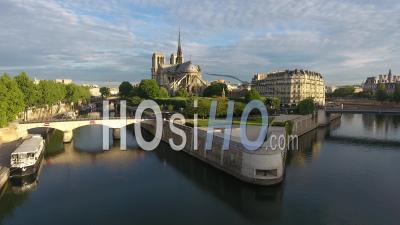 Notre-Dame De Paris, The Seine And The Ile De La Cité - Video Drone Footage